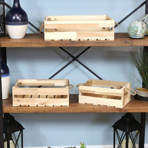 Sunnydaze Rectangle Acacia Wood Trays with Handles - Set of 3 Perspective: right