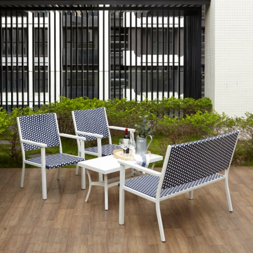 Peaktop Patio Furniture Set Table & 4 Chair White Blue Wicker Coastal PT-OF0002 Perspective: right