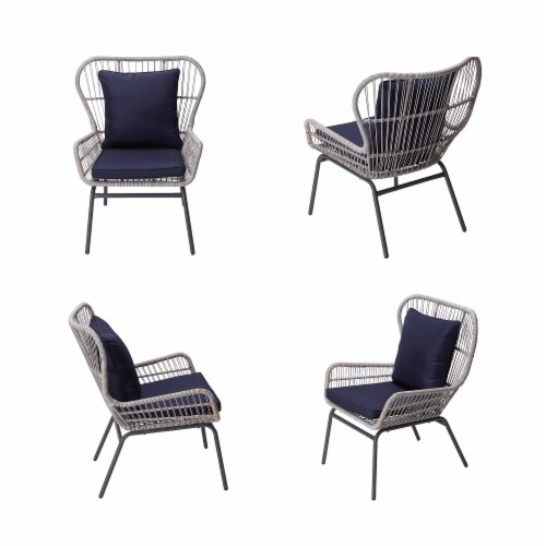 Peaktop Patio Furniture Set Table & 2 Chairs Blue & Gray Wicker PT-OF0006 Perspective: right