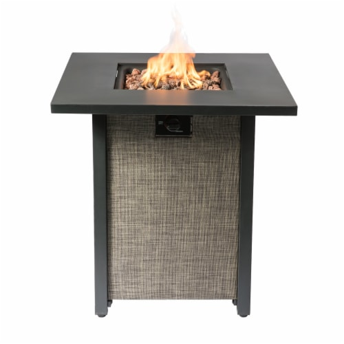 Peaktop Firepit Outdoor Gas Fire Pit Metal Fabric, Lava Rock, Cover HF28201AA Perspective: right
