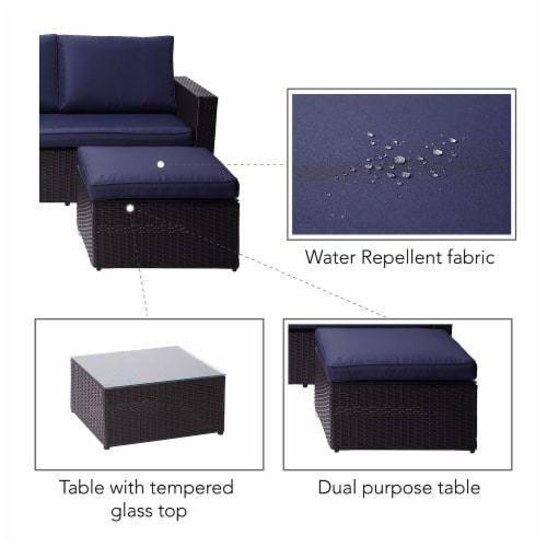 Peaktop Patio Furniture Sofa Set Garden Chairs Blue & Gray Rattan PT-OF0007 Perspective: right