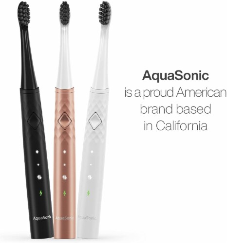 AquaSonic Pulse – Electric Toothbrush w Activated Charcoal, WHITE Perspective: right