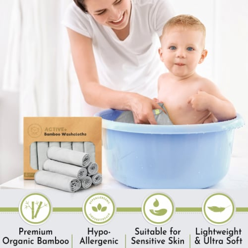 ACTIVE+ Bamboo Baby Washcloths (French Gray) Perspective: right