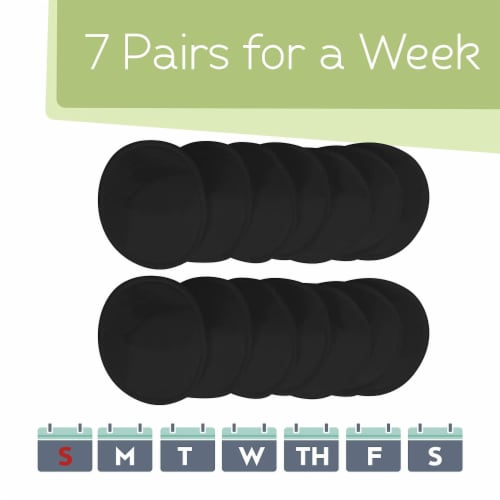 """COMFY Organic Bamboo Nursing Pads (Midnight Black, Large 4.8"""") Perspective: right"""