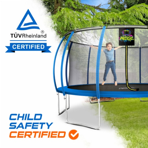 Moxie Pumpkin-Shaped Outdoor Trampoline with Top-Ring Frame Enclosure, 16 FT - Blue Perspective: right