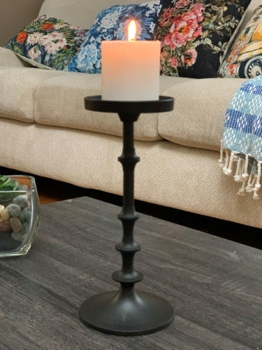 Vibhsa Large Pillar Candle Holder - Matte Black Perspective: right