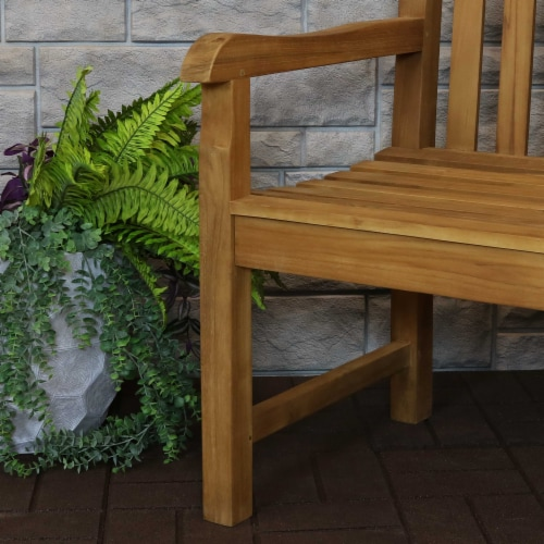 Sunnydaze Teak Outdoor Patio Garden Bench - Mission Style - 2-Person - 59-Inch Perspective: right