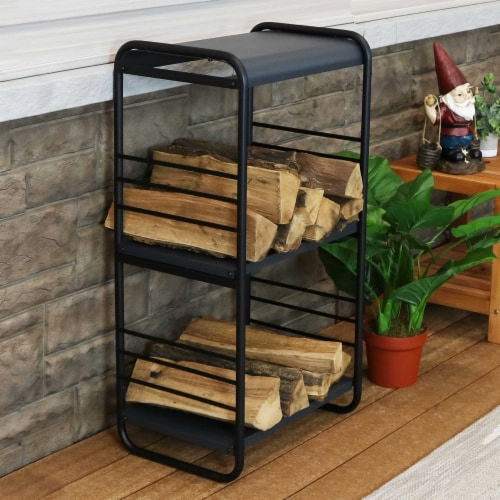 Sunnydaze Modern Rounded Edge Iron and Steel Log Rack - 36-Inch Perspective: right