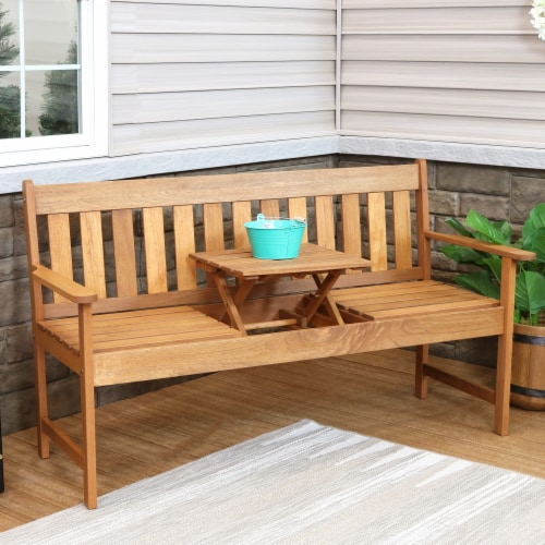 Sunnydaze Meranti Wood Outdoor Occasional Bench with Teak Oil Finish Perspective: right