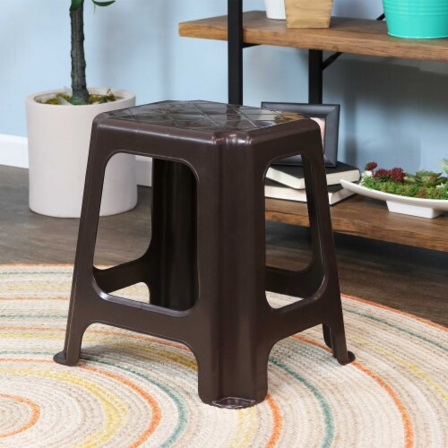 Sunnydaze Brown Plastic Step Stool - Set of 4 - 260-Pound Capacity - 16-Inch Perspective: right