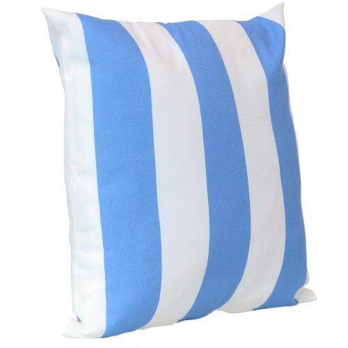 Sunnydaze 2 Outdoor Decorative Throw Pillows - 17 x 17-Inch - Beach-Bound Stripe Perspective: right