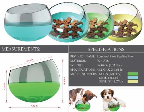 Pet Life 'Tumbowl' Slow Feeding Pet Bowl, Yellow Perspective: right