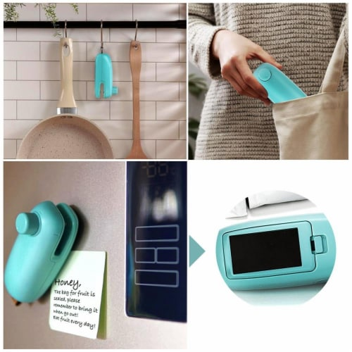 KITCHEN HEAT BAG SEALER FOR CHIP COOKIE CANDY PLASTIC ZIP BAG TRAVEL SIZE PORTABLE Perspective: right