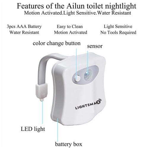 TOILET LED NIGHT LIGHT MOTION SENSOR ACTIVATE 7 COLOR CHANGING - 2 PKS Perspective: right