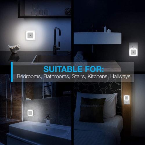 LED SENSOR NIGHT SLEEP WALK SECURITY ALERT LIGHT FOR HOME OFFICE BATHROOM KITCHEN - 6 PKS Perspective: right