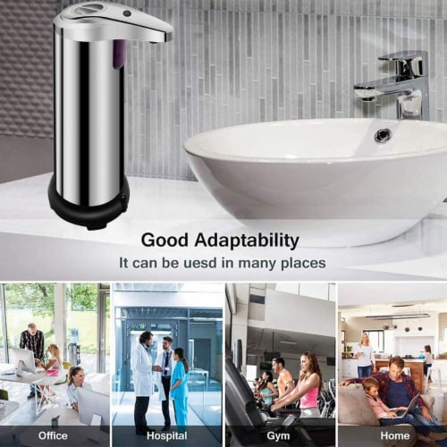 Soap Dispenser, Touchless Automatic Soap Dispenser Waterproof Base Stainless Steel Infrared Perspective: right