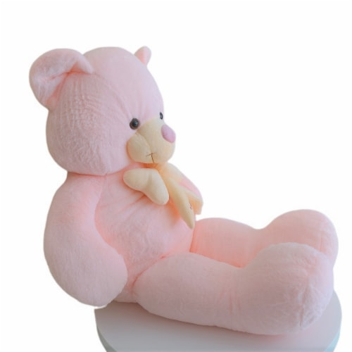 Teddy Bear   Bearded Bowtie Stuffed Animal   Swiss Jasmine® Plushies   32 Inches, Pink Perspective: right