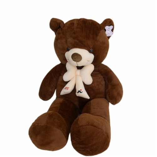 Teddy Bear | Bearded Bowtie Stuffed Animal | Swiss Jasmine® Plushies | 39 Inches, Coffee Perspective: right