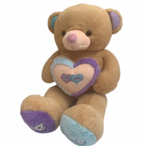 Teddy Bear Rainbow Love Heart Stuffed Animal   Swiss Jasmine® Plushies   32 Inches Perspective: right