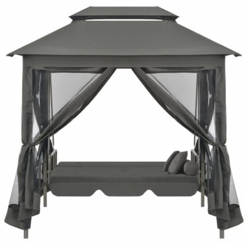 vidaXL Outdoor Convertible Swing Bench with Canopy Anthracite 86.6 x63 x94.5  Steel Perspective: right