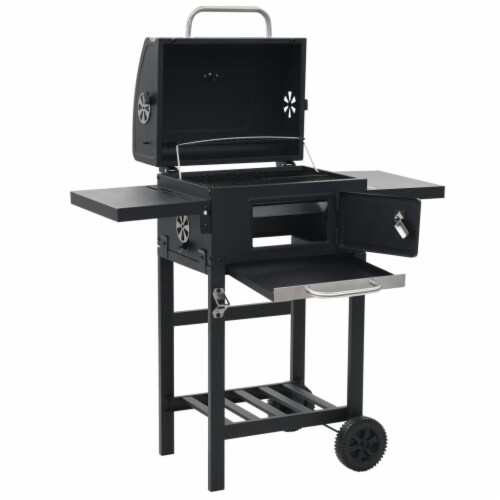 vidaXL Charcoal-Fueled BBQ Grill with Bottom Shelf Black Perspective: right