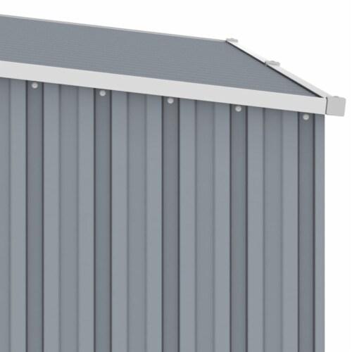vidaXL Garden Firewood Shed Gray 96.5 x38.6 x62.6  Galvanized Steel Perspective: right