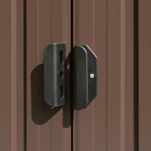 vidaXL Garden Shed Brown 101.2 x306.7 x71.3  Galvanized steel Perspective: right