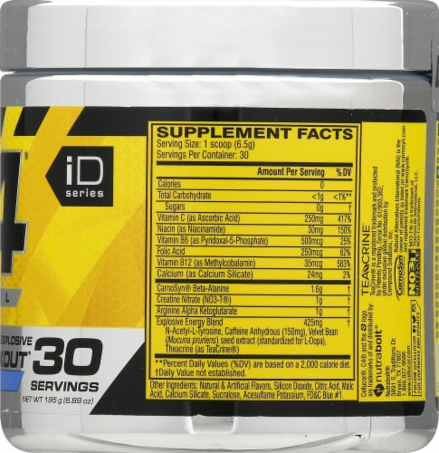 Cellucor C4 Icy Blue Razz Pre-Workout Dietary Supplement Perspective: right