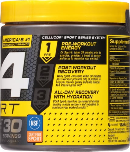 Cellucor C4 Sport Fruit Punch Pre-Workout Powder Supplement Perspective: right