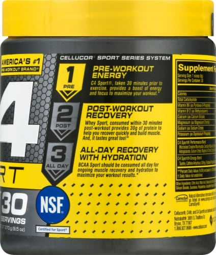 C4 Sport Blue Raspberry Pre-Workout Powder Supplement Perspective: right