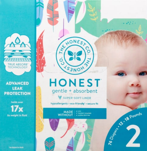 The Honest Co. Painted Feathers + Bunnies Size 2 Print Diapers Perspective: right