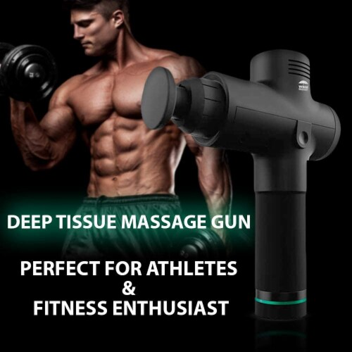 WBM Smart Massage Gun, 5 Massage Heads for Different Muscle Groups, 3 Speed Modes | Black Perspective: right