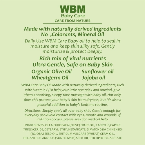 WBM Baby Care Body Oil, Moisturizing Massage Oil | Nutritious & Natural Ingredients - 10 Oz Perspective: right