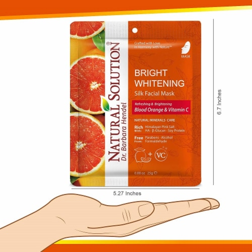 Natural Solution Facial Mask, Blood Orange & Vitamin C, Silk Mask with Pink Salt   Pack of 10 Perspective: right