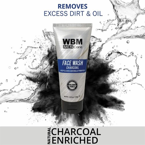 WBM Men Care Face Wash, Purifying & Hydrating Charcoal Cleanser, For All Skin Types | 5.29 Oz Perspective: right