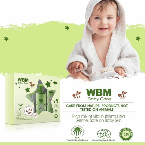 WBM Care Gift Set, Baby Oil, Lotion & 3 In 1 Baby Shampoo - Skincare & Bath Products, 3 Items Perspective: right