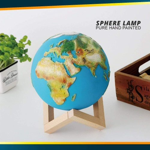 Himalayan Glow Earth Lamp, Printed Lamp with Wooden Stand, Night Light-for Kids, Best as Gift Perspective: right