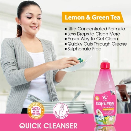 W Home Dishwashing Liquid, Lemon & Green Tea, Powerful Grease Remover | Pack of 3/17 Oz Each Perspective: right