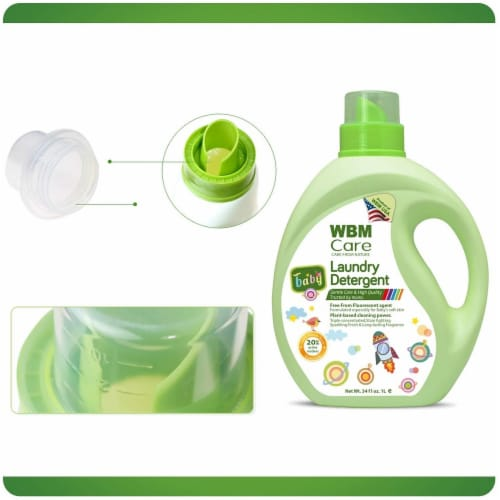 WBM Baby Care Laundry Detergent, Plant Based Liquid Detergent, Fluorescent-Free | 34 Oz Perspective: right