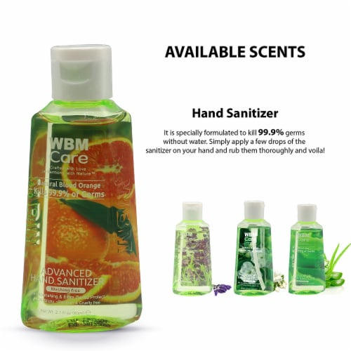 WBM Care Advanced Hand Sanitizer, Alcohol-Based, Blood Orange – Pack of 48/3.5 Oz Each Perspective: right