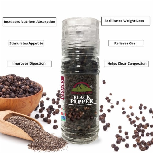 Himalayan Chef Black Pepper, 100% Natural Peppercorns, Small Glass Grinder, 1.76 Oz – 6 Packs Perspective: right