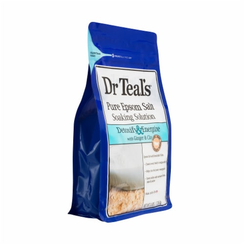 Dr Teal's Detoxify & Energize Pure Epsom Salt Soaking Solution With Ginger & Clay Perspective: right