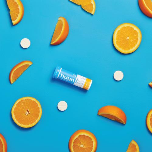 Nuun Sport Orange Electrolyte Supplement Water Enhancer Tablets Perspective: right