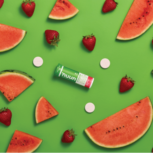 Nuun Hydration Strawberry Melon Effervescent Vitamin Supplement Tablets Perspective: right