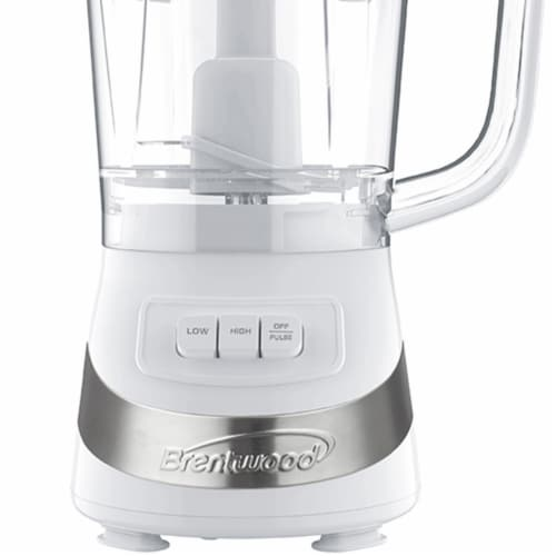 Brentwood FP-549W 3 Cup Kitchen Countertop Food Blender Chopper Processor, White Perspective: right