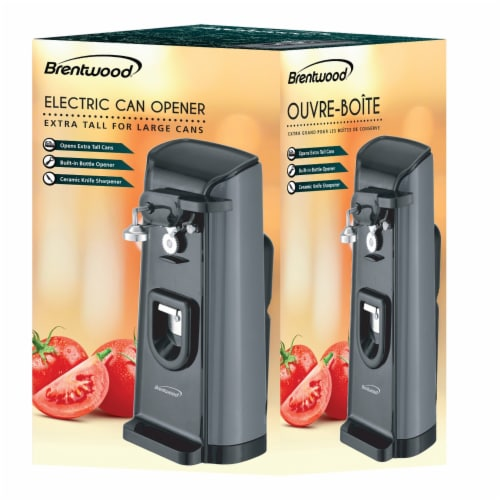Brentwood Electric Can Opener with Knife Sharpener and Bottle Opener - Black Perspective: right
