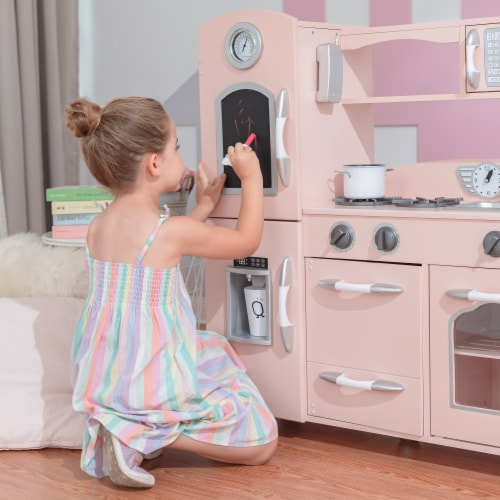 Pink Wooden Toy Kitchen with Fridge Freezer and Oven by Teamson Kids TD-11414P Perspective: right