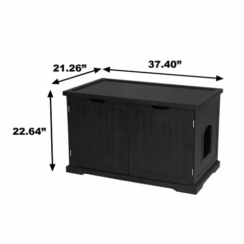 Merry Products Decorative Bench with Enclosed Cat Litter Washroom Box, Black Perspective: right
