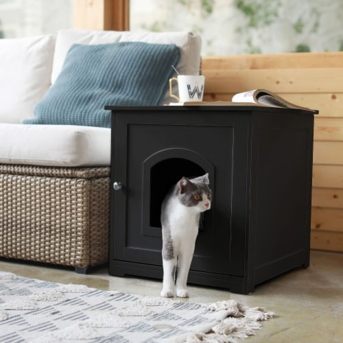 zoovilla Kitty Litter Loo Indoor Hidden Litter Box Furniture Enclosure, Black Perspective: right