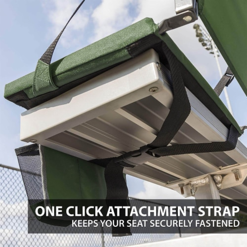 Eastpoint Sports Adjustable Bleacher Backrest Stadium Seat w/ Cup Holder, Green Perspective: right